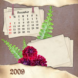 The month of December. Page of calendar in scrapbooking style Royalty Free Stock Photos