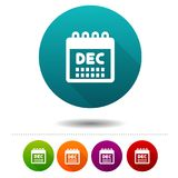 Month December icon. Calendar symbol sign. Web Button. Eps10 Vector Royalty Free Stock Images