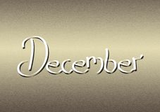 Month of December lettering on textured background. For use on screen or designs Royalty Free Stock Photos