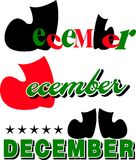 Month of December text Royalty Free Stock Image