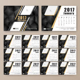 12 month desk calendar template. For print design with dark polygon background. 2017 calendar design start with Sunday. 7x5 inches size with bleeds vector royalty free illustration