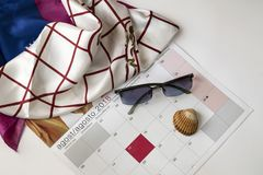 Holidays in August. Month expected by the workers who make the holidays Royalty Free Stock Photo