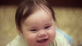 5-month girl is smiling stock footage