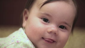 5-month girl is smiling stock video