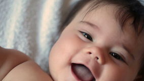5-month girl is smiling stock video footage