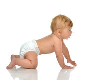 6 month infant child baby toddler sitting or crawling looking at. The corner on a white background Royalty Free Stock Images