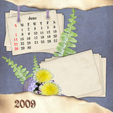 The month of June. Page of calendar in scrapbooking style Royalty Free Stock Image