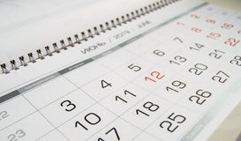 Month June 2019 and the dates shown in the calendar close-up.  stock photo