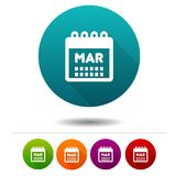 Month March icon. Calendar symbol sign. Web Button. Eps10 Vector stock illustration
