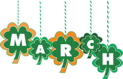 Month of March Text within Shamrocks. Letters of the Month of March Text within Hanging Shamrocks of Various Colors and Sizes stock illustration
