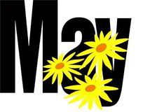 Month of may. Photo of the word May with flowers Stock Photo