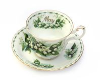 Month of May Teacup. An english bone chine cup and saucer. One of a monthly series. Month of May stock photography