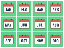 Month name in calendar, flat style vector. Illustration Stock Images