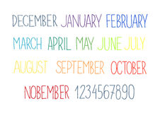Month names and numbers Royalty Free Stock Image