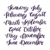 Month names of the year. Set of Month names of the year. Hand drawn typography Royalty Free Stock Images