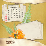The month of November. Page of calendar in scrapbooking style Royalty Free Stock Image