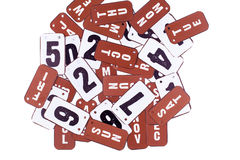 Month and number tag labels in red metal Stock Image
