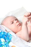 Month old baby as present in box Stock Images