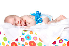 Month old baby as present in box Royalty Free Stock Images