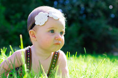 6 Month Old Baby Girl Outdoors Stock Photography