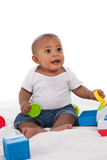 7-month old baby playing with toys Royalty Free Stock Photography