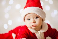 Little Santa baby stock image