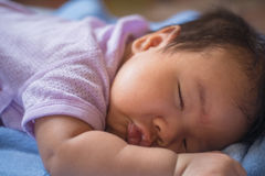 1-month-old baby was sleeping. Royalty Free Stock Photography
