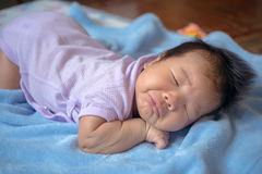 1-month-old baby was sleeping. Royalty Free Stock Images