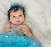 Baby girl in blue tutu royalty free stock image