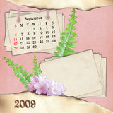 The month of September. Page of calendar in scrapbooking style Stock Images