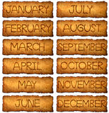 The month in vintage style on aged, old paper Royalty Free Stock Image