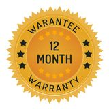 12 month warranty stamp isolated on white. 12 month warranty stamp style design element on white background Stock Images