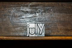The month of the year July created with movable type printing on Stock Image