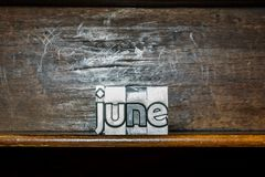 The month of the year June created with movable type printing on Stock Images