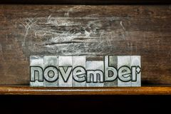 The month of the year November created with movable type printin Stock Photo