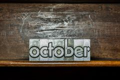 The month of the year October created with movable type printing Royalty Free Stock Photo