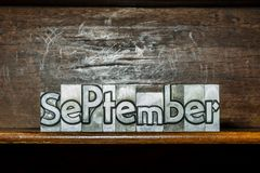 The month of the year September created with movable type printi Royalty Free Stock Photo