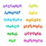 12 monthes d'année - ensemble de lettrage de bande dessinée Images stock