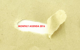MONTHLY AGENDA 2016 Royalty Free Stock Image