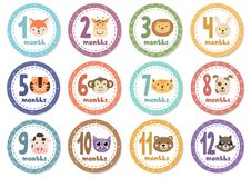 Monthly baby stickers with cute animals. Vector illustration Stock Photography