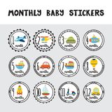 Monthly baby stickers for little boys.  Stock Photography