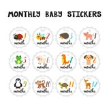 Monthly baby stickers for little girls and boys. Cute cartoon animals.. Month by month growth stickers for clothing. Great baby shower gift. Vector illustration Royalty Free Stock Photography