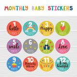 Monthly baby stickers for little girls and boys. Month by month growth stickers for clothing. Great baby shower gift. Love Royalty Free Stock Photos
