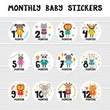 Monthly baby stickers for little girls and boys.. Month by month growth stickers for clothing. Great baby shower gift. Cute cartoon animals. Vector illustration Stock Photos