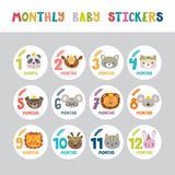 Monthly baby stickers for little girls and boys.. Month by month growth stickers for clothing. Cute cartoon animals. Great baby shower gift. Vector illustration Stock Photo