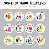 Monthly baby stickers for little girls and boys.. Month by month growth stickers for clothing. Cute cartoon little monsters. Great baby shower gift. Vector Stock Photo