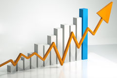 Monthly bar chart showing profits up Royalty Free Stock Photography