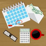 Monthly budget audit counting. Wage salary, financial budget, calculate money. Vector illustration Stock Images