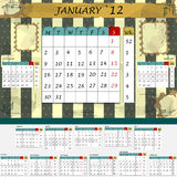 Monthly calendar 2012 - all months in the set. Vintage monthly calendar 2012 - all months in the set Stock Illustration