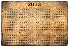 Monthly calendar 2013. On  old grunge background Stock Photo